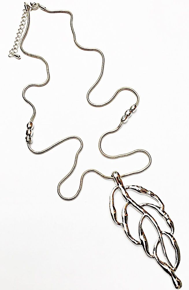 Large Leaf Long Necklace ~Silver