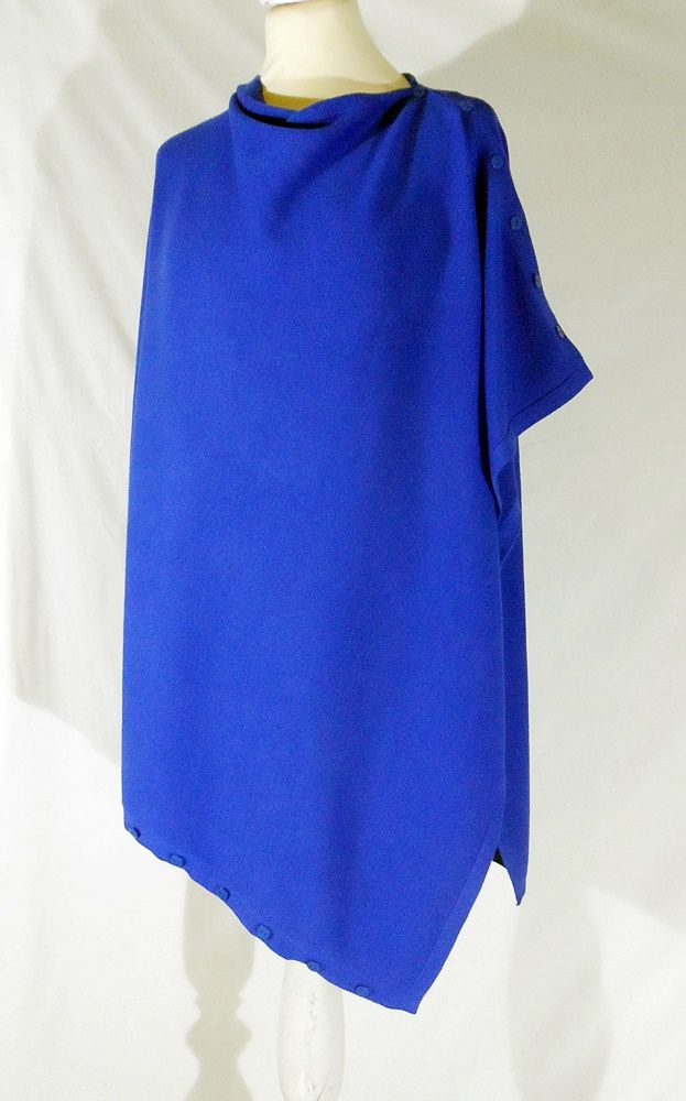 Plain Convertible Ponshawl ~ Electric Blue