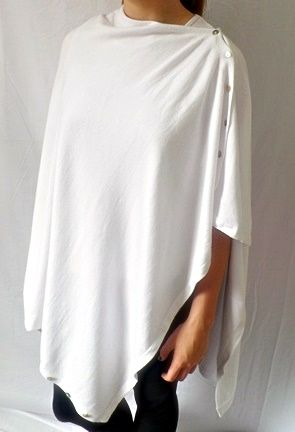 Plain Convertible Ponshawl ~ White